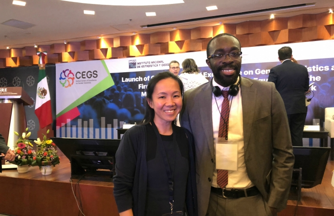 Image of Dr Mandy Yap and Papa Seck at the launch of the Centre for Excellence in Gender Statistics