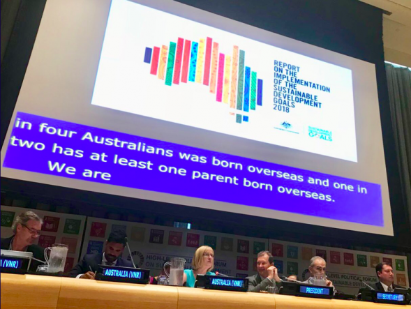Image of Gillian Bird, Australia's ambassador to the United Nations delivering Australia's Voluntary National Review (VNR).